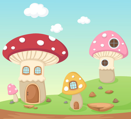 Illustration of a mushroom house Vector