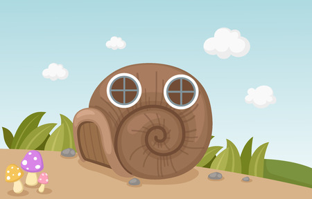 cartoon window: Illustration of a snail house