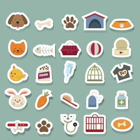 rabbit cage: Set di icone vettoriali Dog