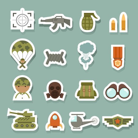 chaser: Military and war icons set Illustration