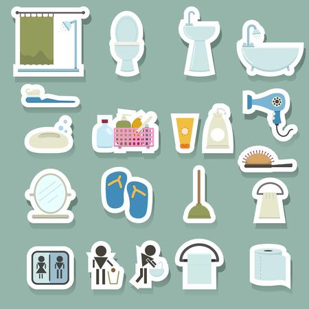 toilet seat: Bathroom icons set