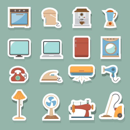 electronic home icons set Vector
