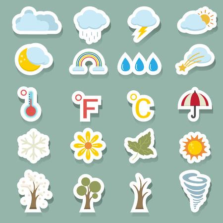 rain storm: season icons set