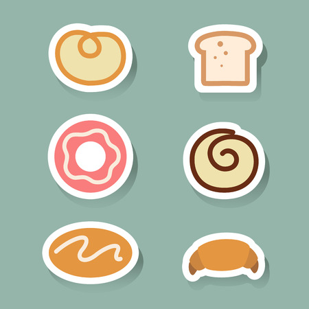 swiss roll: Bread icons set
