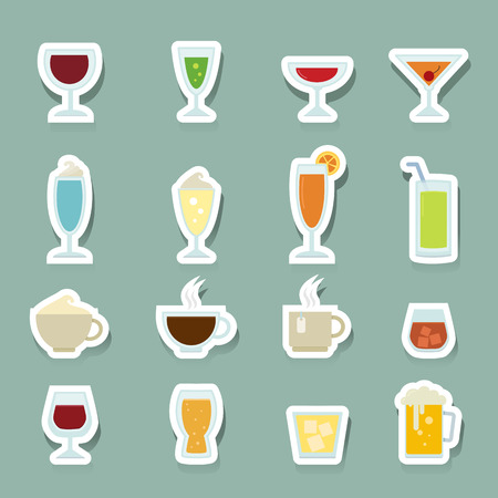 whie wine: Drink icons set