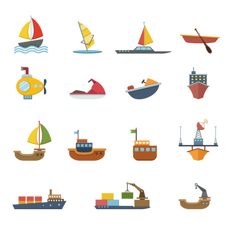 boats and ships icons Vector