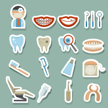 tooth extraction: Dental Icons Illustration