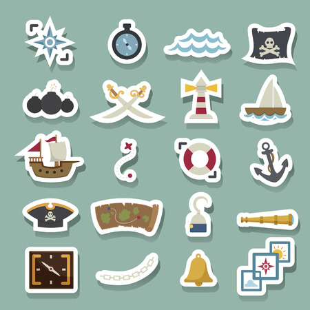 poison sea transport: pirates icons Illustration