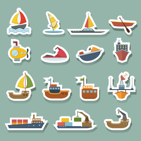 inflate boat: boats and ships icons set Illustration