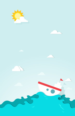 boat in the sea paper Vector