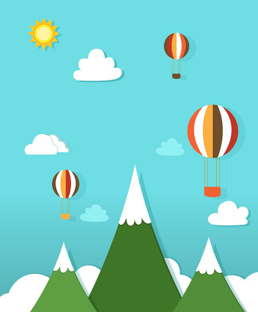 paper landscape with hot air balloons Vector