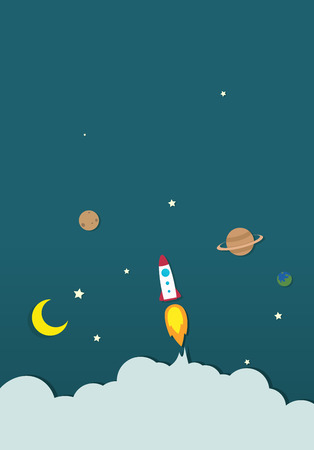 rocket in the space paper Vector