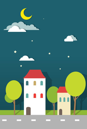 houses at night paper vector Vector