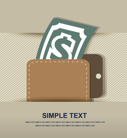 Wallet with dollar icon Vector