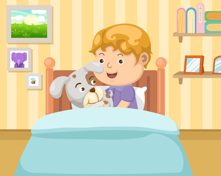 good night: boy with dog in the bedroom