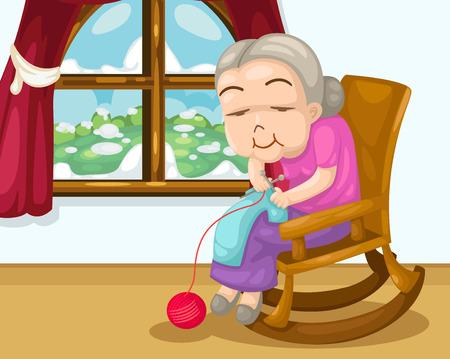 Grandmother knitting vector Vector