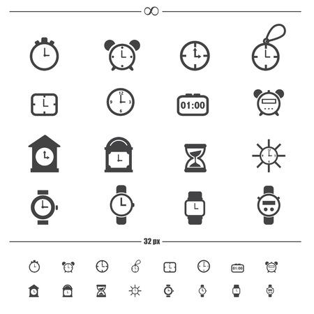 digital timer: clocks icons  Illustration