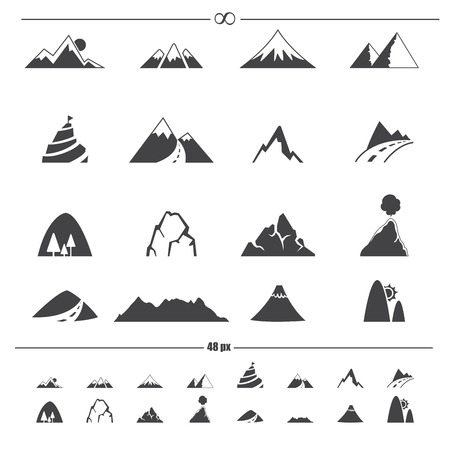snow capped: Mountain icons