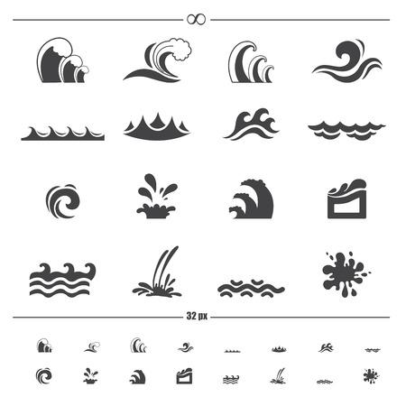 olas de mar: iconos onda de agua
