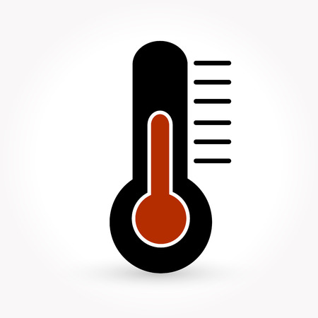 high temperatures: Thermometer icon Illustration