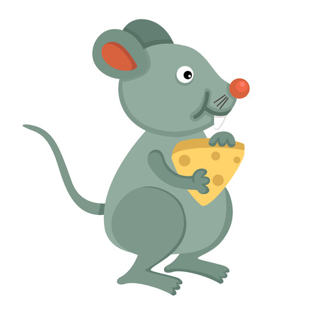 Rat eating cheese Vector