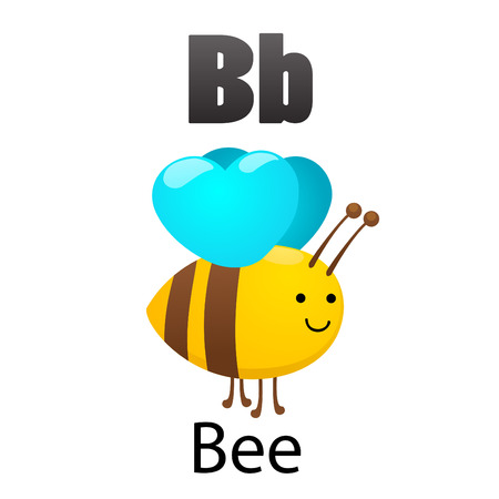 Alphabet B with Bee Vector