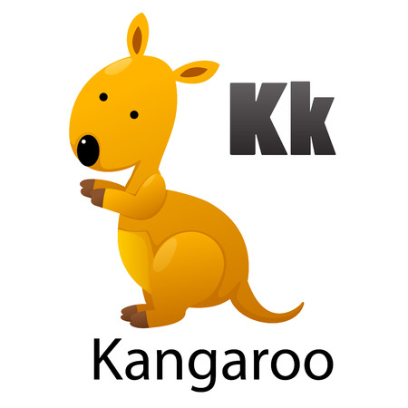 Alphabet K with Kangaroo Vector