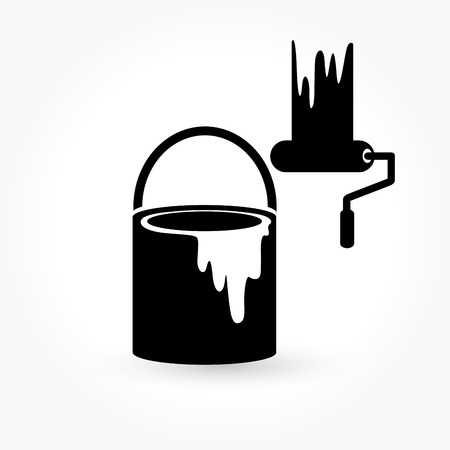 paint can: paint and paint brush icon Illustration