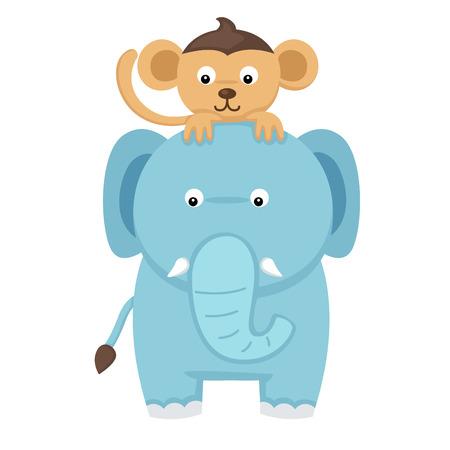 elephant with monkey Vector