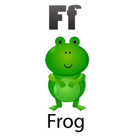 Alphabet F with Frog Vector