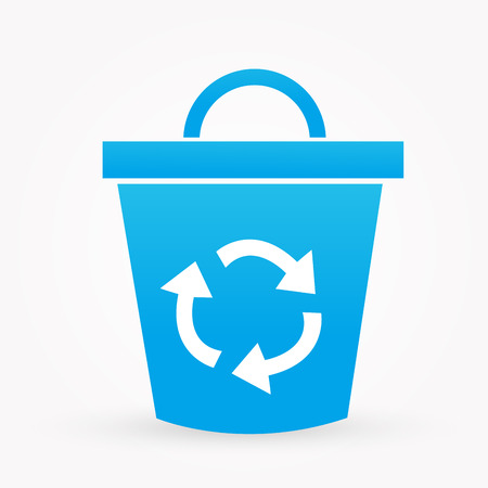 wastepaper basket: blue recycle icon