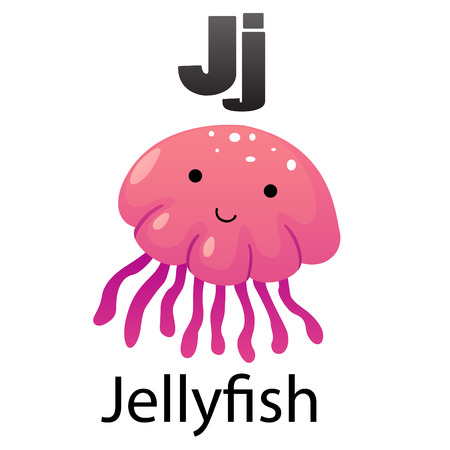 jelly fish: Alphabet J with Jellyfish