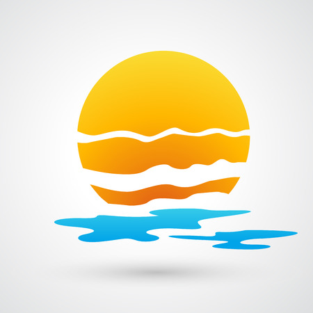 rooster and morning sun: sunset and sea waves icon Illustration