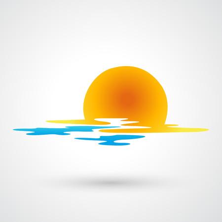 Sonnenuntergang und das Meer Wellen Symbol