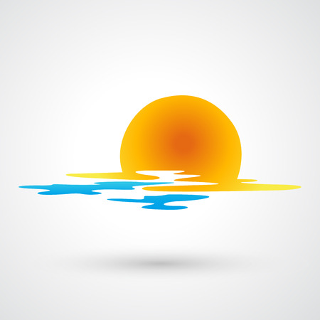 sunset painting: sunset and sea waves icon Illustration