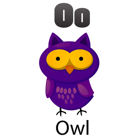 Alphabet O with Owl Vector