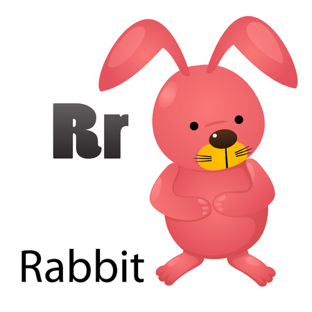 letter r: Alphabet R with rabbit