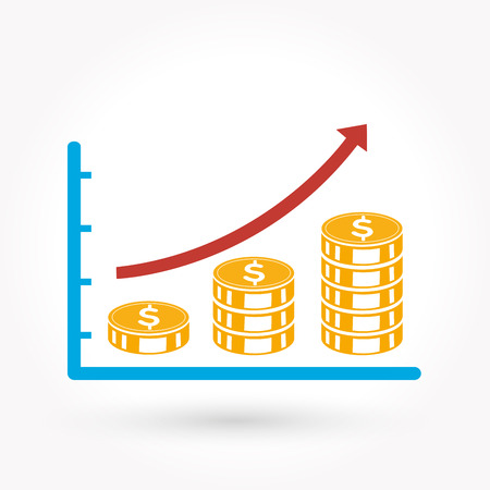 dime: Business graph vector growth progress