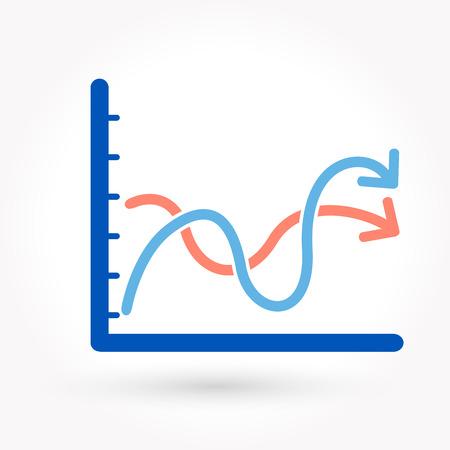 Arrow growing upward on graph icon Vector