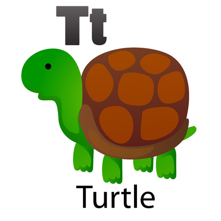 Alphabet T with turtle Vector