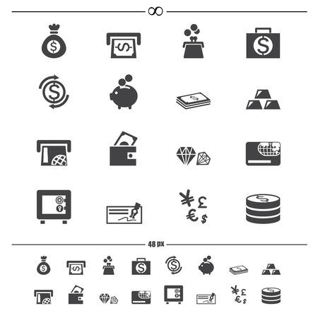 cash money: dinero iconos vectoriales eps10