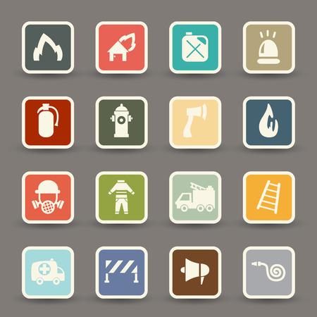 Fireman icons vector eps10 Vector