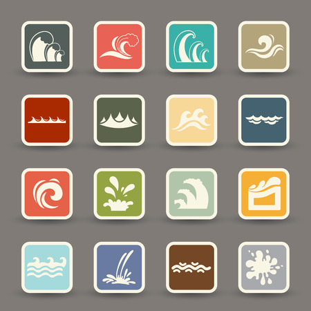 water wave icons vector eps10