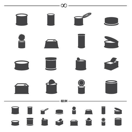 can opener: illustration of canned food icons.vector eps10