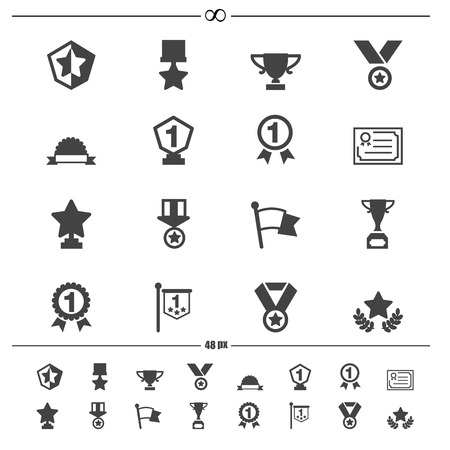 illustration of trophy and awards icons vector eps10 Vector