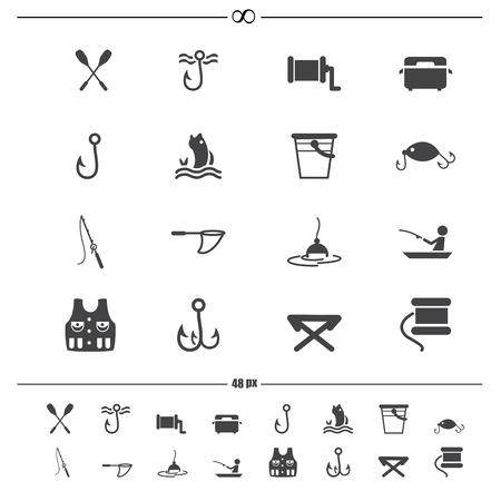 illustration of fishing and equipment for fishing icons.vector eps10 Illustration