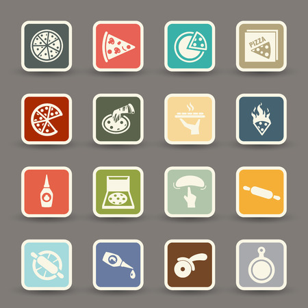 illustration of Pizza icons.vector eps10 Vector