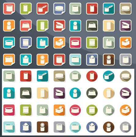 canned goods: illustration of canned food icons