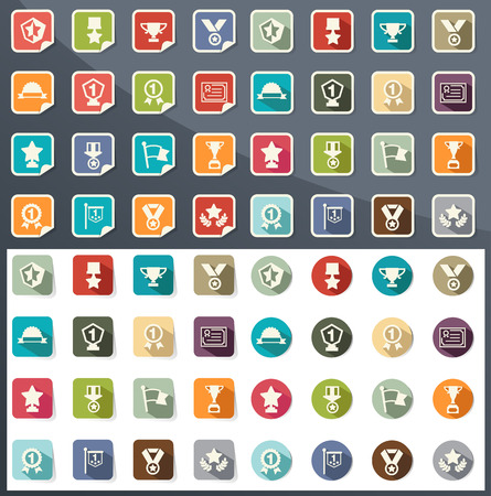 illustration of trophy and awards icons  Vector