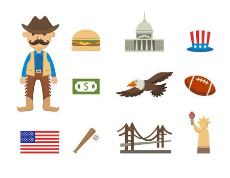 estereotipo: ilustración de américa símbolo conjunto de vectores